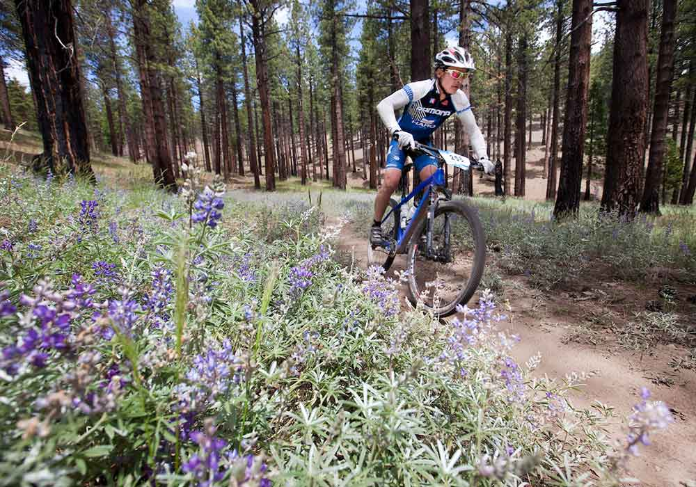 A biker rides past Spring flowers in Carson City.