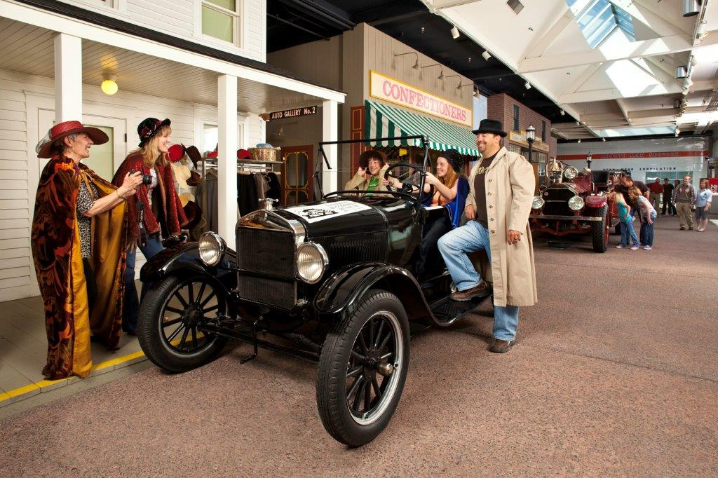 Families enjoying the National Auto Museum in Reno, Nevada.