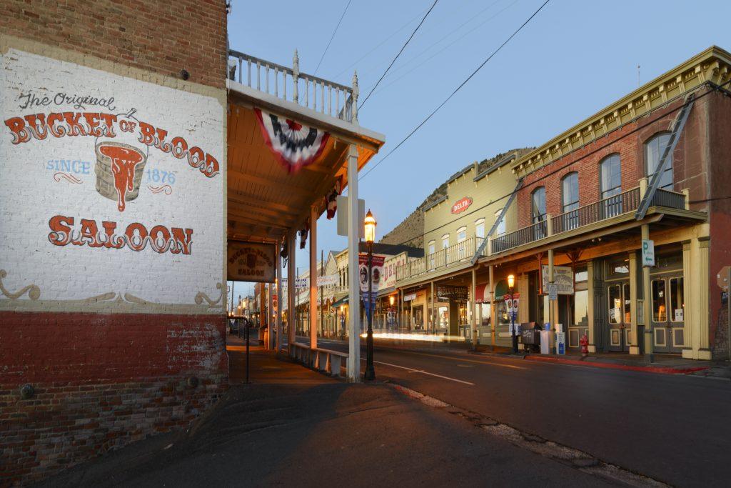 Virginia City's Main Street near the Bucket of Blood Saloon.