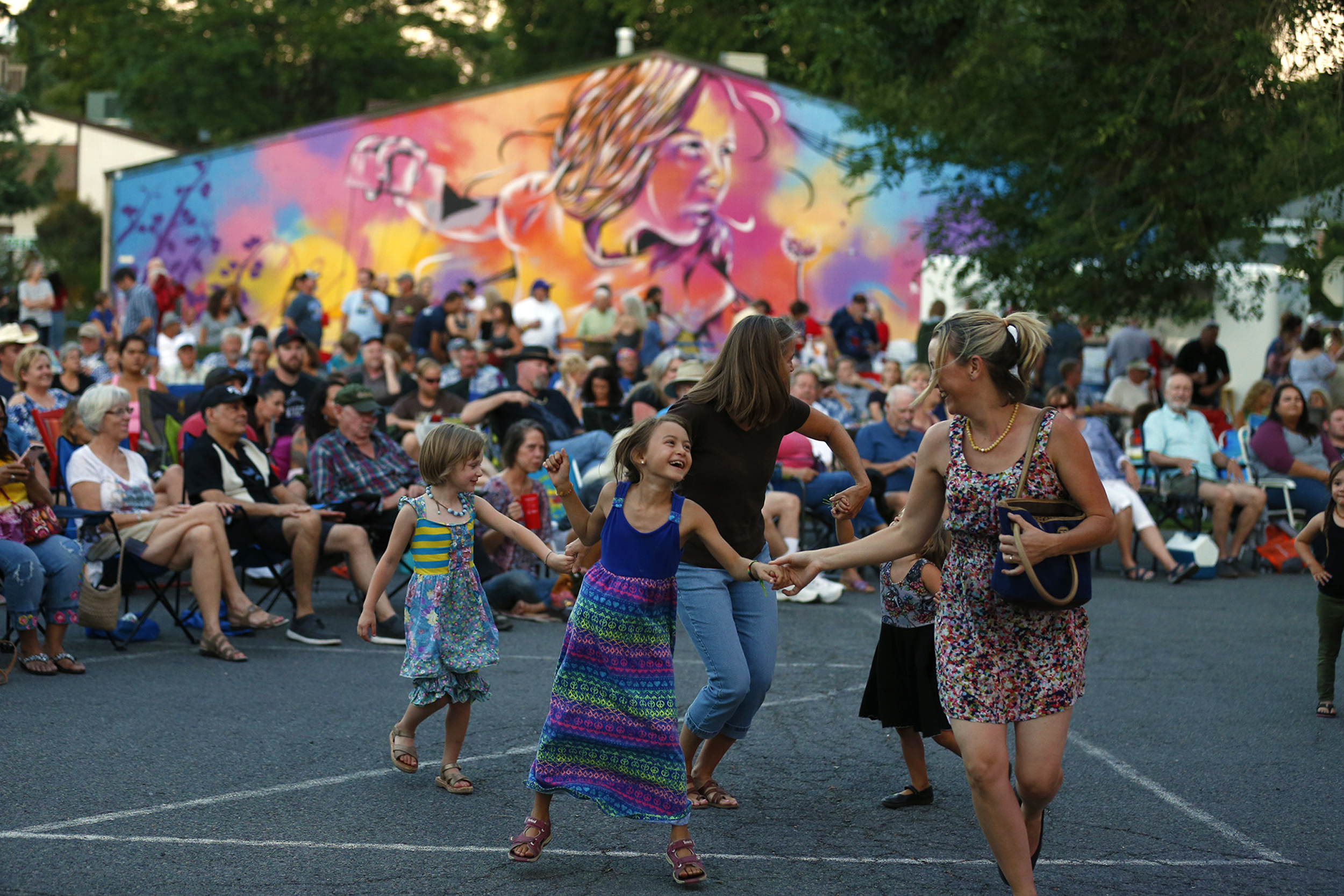 Families dance in Carson City.