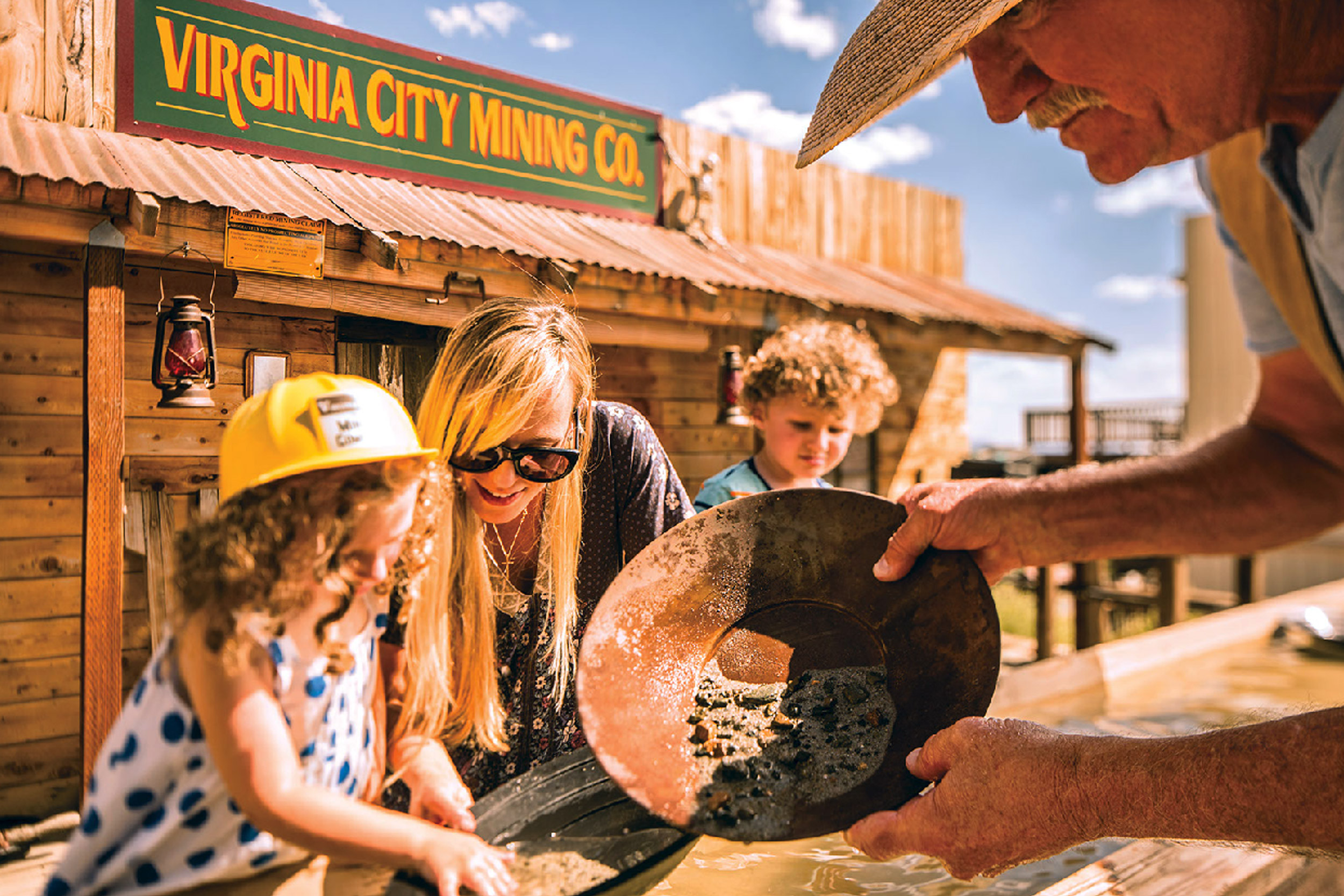 People pan for gold at Virginia City Mining Co.