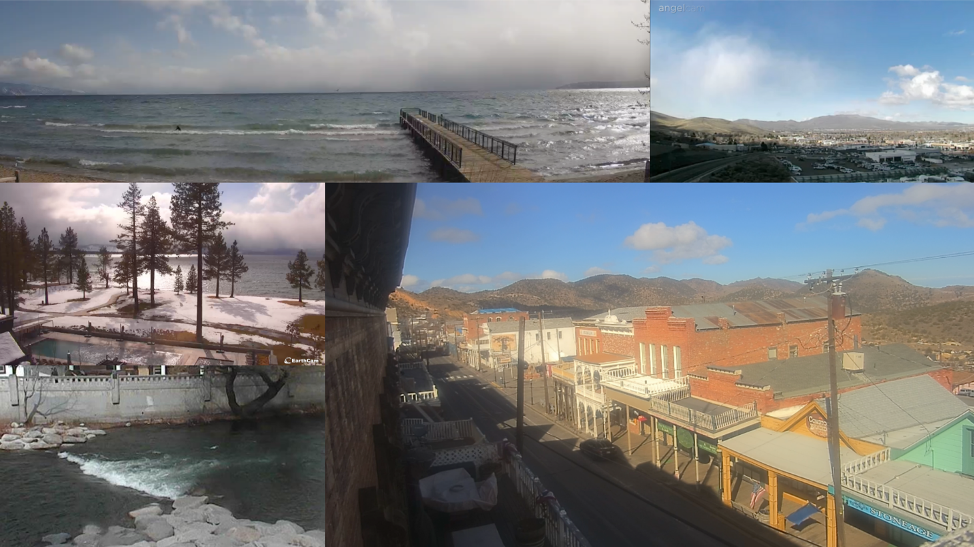 Webcam footage collage around the Reno-Tahoe Territory.